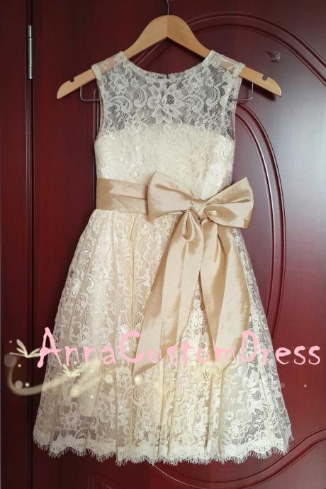 Scoop Ankle-length Champagne Lace Flower Girl Dress