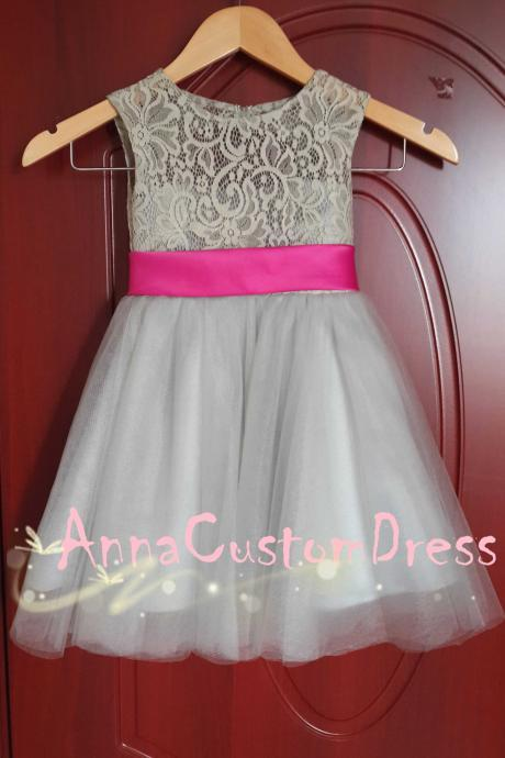 Scoop Ankle-length Light Grey Lace Tulle Flower Girl Dress with Fuchsia Bow