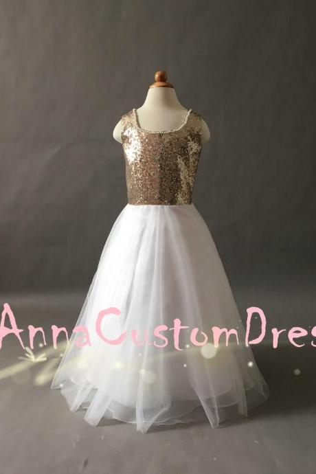 Square Floor-length Champagne Gold Sequin Ivory Tulle Flower Girl Dress