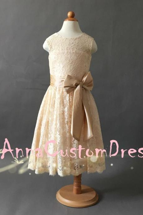 Scoop Ankle-length Champagne Lace Flower Girl Dress with Champagne Sash